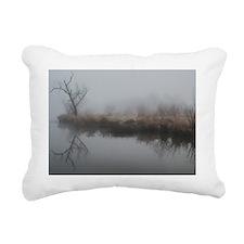 Foggy morning at the lak Rectangular Canvas Pillow