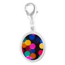 Christmas Tree Lights in Bokeh Silver Oval Charm