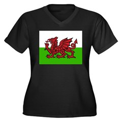 Red Welsh Dragon Women's Plus Size V-Neck Dark T-S