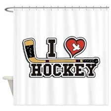 I Love Hockey Shower Curtain
