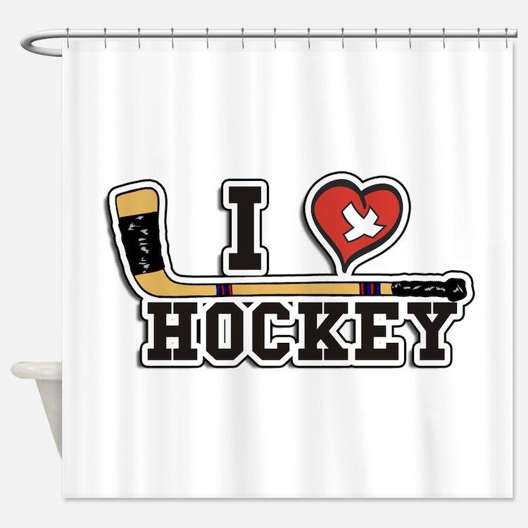 I Love Hockey Shower Curtain