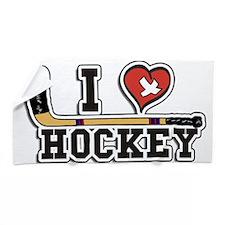 I Love Hockey Beach Towel