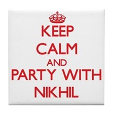 Keep Calm and Party with Nikhil Tile Coaster