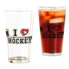 I Love Hockey Drinking Glass