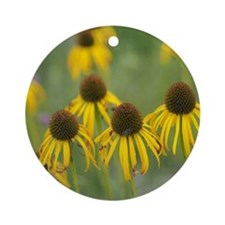 Dying Yellow Flowers Round Ornament