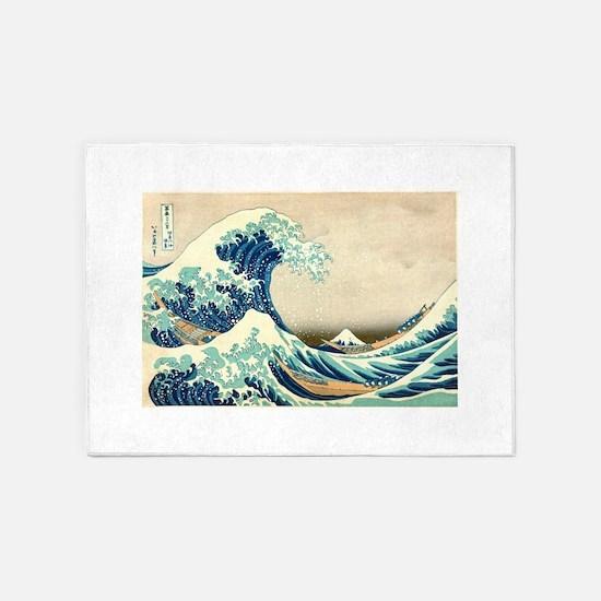 Hokusai Great Wave off Kanagawa 5'x7'Area Rug