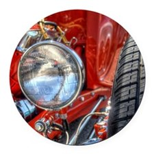 Red Hot Rod at a Carshow Round Car Magnet