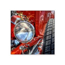 """Red Hot Rod at a Carshow Square Sticker 3"""" x 3"""""""