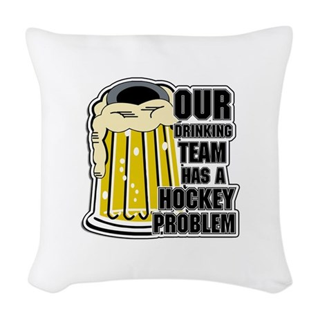 Hockey Drinking Team Woven Throw Pillow