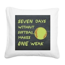Chalkboard Seven Days Without Softball Square Canv