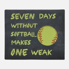 Chalkboard Seven Days Without Softball Throw Blank