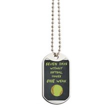 Chalkboard Seven Days Without Softball Dog Tags