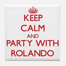 Keep Calm and Party with Rolando Tile Coaster
