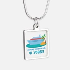41st Anniversary Cruise Silver Square Necklace