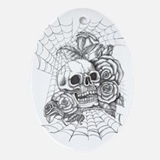 Skull and Roses Oval Ornament