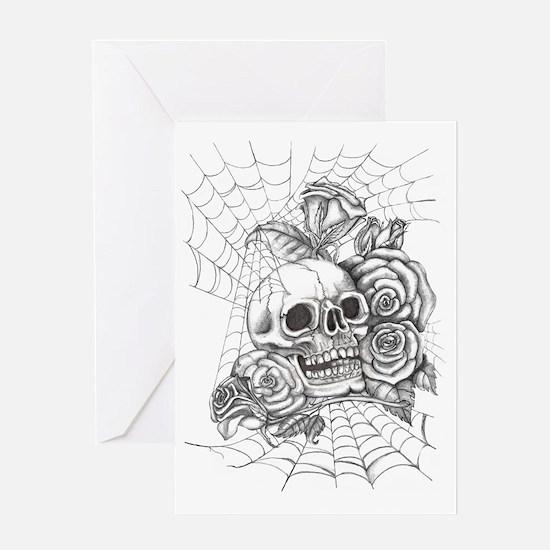 Skull and Roses Greeting Card