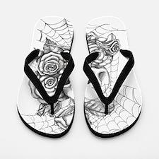Skull and Roses Flip Flops