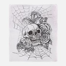 Skull and Roses Throw Blanket