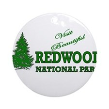 Visit Beautiful Redwood Natio Ornament (Round)