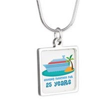 25th Anniversary Cruise Silver Square Necklace