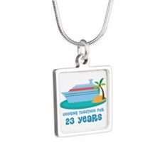 23rd Anniversary Cruise Silver Square Necklace