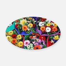 Colorful floral bouquets Oval Car Magnet