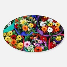 Colorful floral bouquets Sticker (Oval)