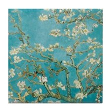 Flowers on tree branches by Vincent van Gogh Tile