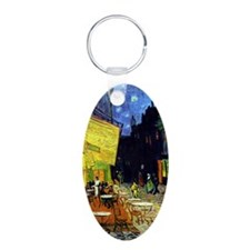 Cafe Terrace at Night by Va Aluminum Oval Keychain