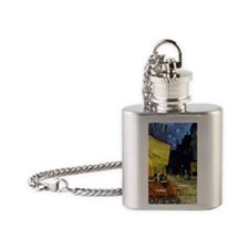 Cafe Terrace at Night by Van Gogh Flask Necklace