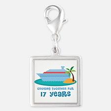 17th Anniversary Cruise Silver Square Charm