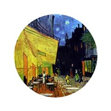 "Cafe Terrace at Night by Van Gogh 3.5"" Button"