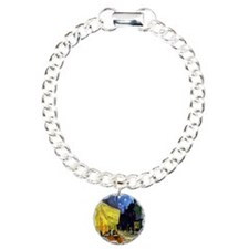 Cafe Terrace at Night by Charm Bracelet, One Charm