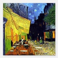 "Cafe Terrace at Night by Square Car Magnet 3"" x 3"""