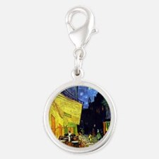 Cafe Terrace at Night by Van G Silver Round Charm