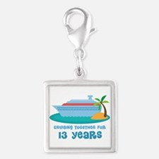13th Anniversary Cruise Silver Square Charm