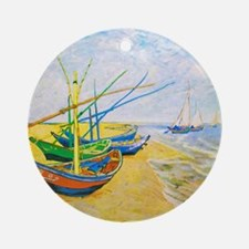 Fishing Boats on the Beach at Saint Round Ornament