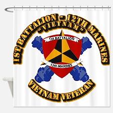 USMC - 1st Bn 12th Marines Shower Curtain