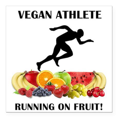 Vegan Athlete Man Running on Fruit Square Car Magn