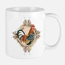 Vintage Rooster Etched Design Watercolor Red, Blac