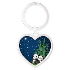 Star Night Panda Heart Keychain