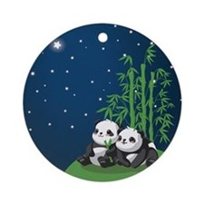 Star Night Panda Round Ornament