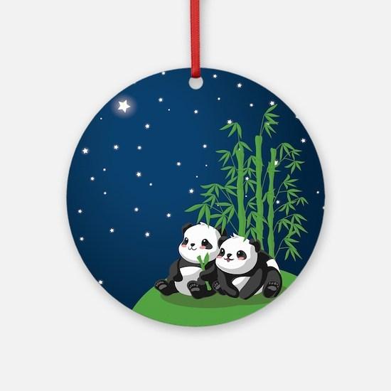 Star Night Panda Round Ornament