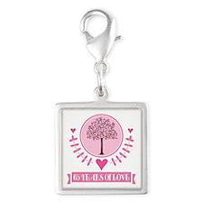 65th Anniversary Love Tree Silver Square Charm