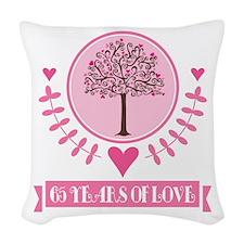 65th Anniversary Love Tree Woven Throw Pillow