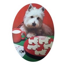 Bailey and Cookies Oval Ornament