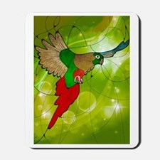 stained glass parrot Mousepad