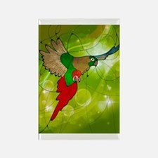 stained glass parrot Rectangle Magnet