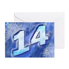 14th birthday card with blue fireworks Greeting Ca