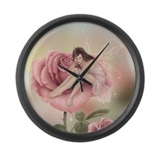 Rose Flower Fairy Large Wall Clock